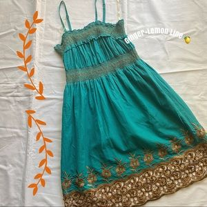 MAGIC Gold Floral Embroidered Smoked Dress Sz.M